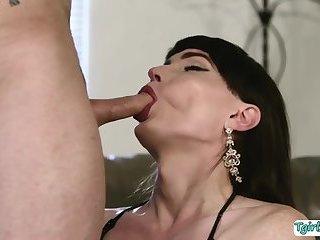 Hunk guy D Arclyte fucks TS Natalie Mars tight ass so deep and hard
