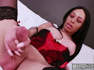 Busty black big cock shemale jerking off cock until she cums