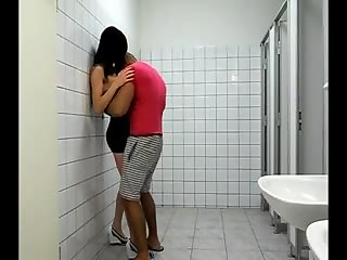 Stefanie hugs and kisses in the bathroom