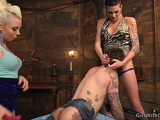Tranny and her gf dominating inked dude