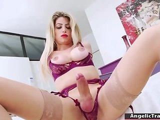 Busty TS latina masturbates until cums