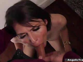Busty shemale enjoys bareback anal sex