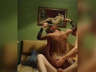 Ladyboy with two guys