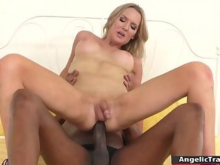 Tgirl Kayleigh gets pounded hard by Seans massive black cock