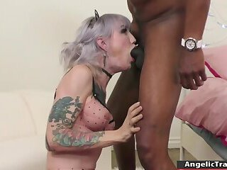 Busty Tgirl throats n barebacked by bbc