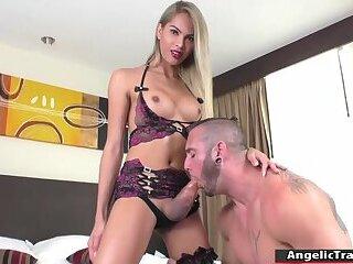 Horny asian Tgirl barebacked by big cock