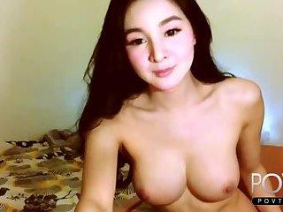 Cute big tits asian ladyboy teasing