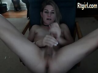 Canadian petite tgirl tugging on her cock