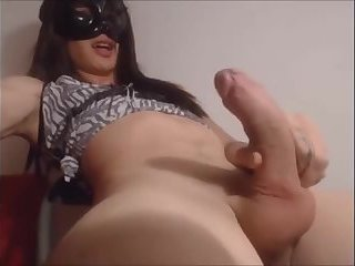 A Black Cat Mask, The Tgirl On The Webcam Masturbates
