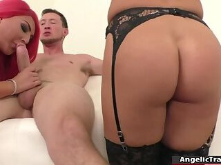 2 busty TS and a guy bareback each other