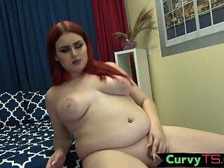 Sexy schoolgirl shemale masturbates