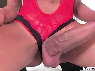 Brunette TS Keylla Marques pleasures dudes big hard cock