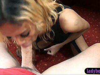 Amateur blonde Asian ladyboy gives white guy great head