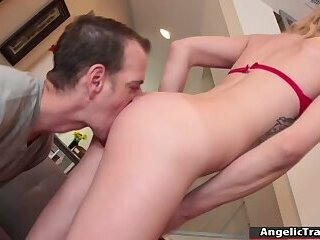 Horny shemale sucks and bareback fucked