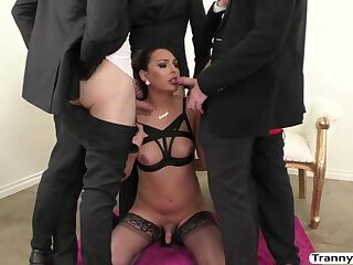 Gorgeous Tranny Chanel Santini gets her juicy ass banged by five dudes dick