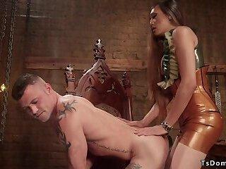 Busty shemale anal fucks tattooed male