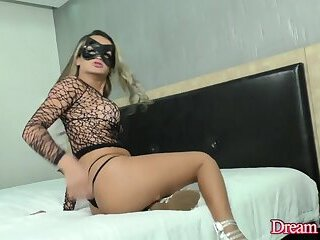Masked TS Juliana Leal Puts on a Hot Show and Fucks Herself with High Heels