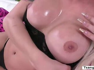 Hot Blonde TS Domino Presley enjoys riding dudes cock