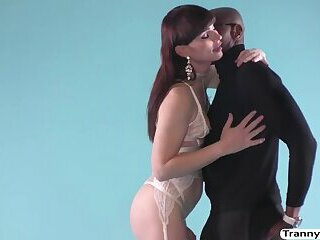 Gorgeous Tranny Natalie Mars gets worshipped and penetrated by the black guy