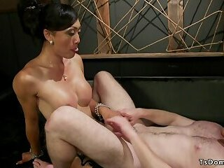 Busty tranny makes dude cum with anal fuck