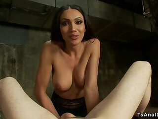 Tanned tranny anal bangs dude in dungeon