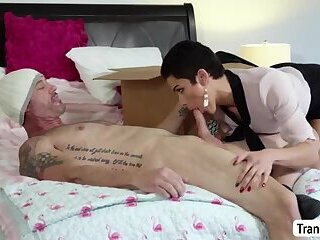 Hot Busty TS Casey Kisses loves facial with big cock