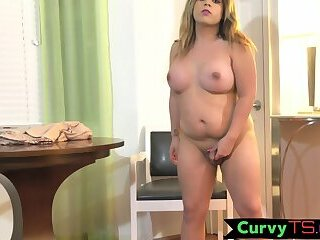 Solo BBW tranny strips and strokes her wang