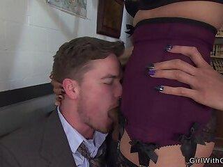 Busty shemale secretary anal fucks boss
