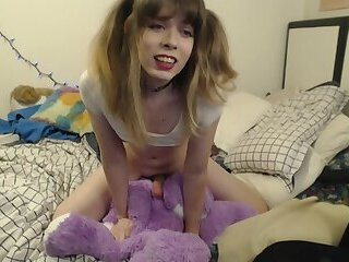 sissy girl fucks her plush friend
