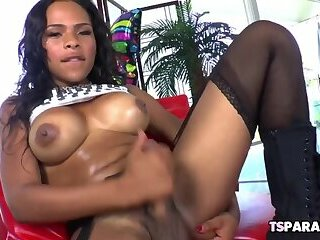 Busty Ebony Tranny Nody Nadia Enjoys Her Toy