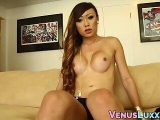 Exotic looking naughty Asian tranny solo masturbation tease