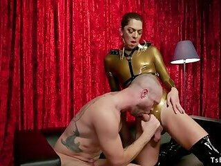 Tranny in tight suit anal bangs male