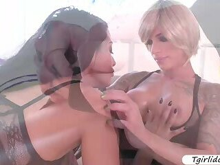 Sexy Ts Nina Lawless and Katrina Jade intense sex on the couch