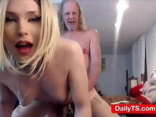 Shemale plays daddy webcam