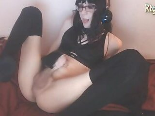 American Brunette Femboy with glasses wanks off her dick
