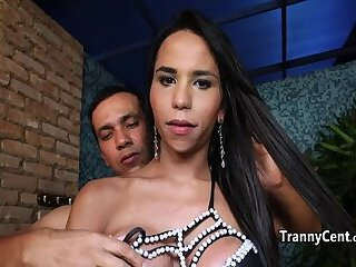 Latina sheshaft rided big cock