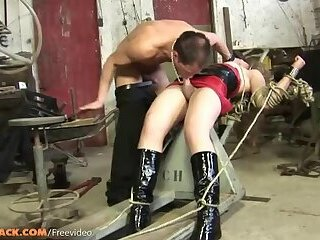 Small cock tranny in latex dress gets fucked in bondage until cumshot