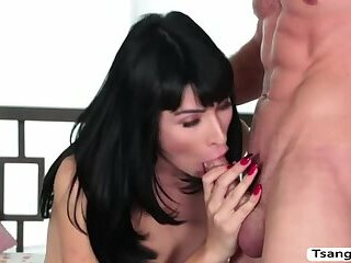 Slutty TS Alexa Scout gives dude a handjob and blowjob