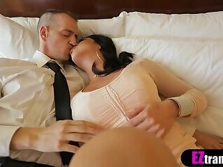 Busty escort shemale babe ordered and fucked in a motel