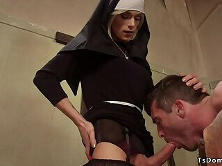 Shemale nun anal fucking male believer