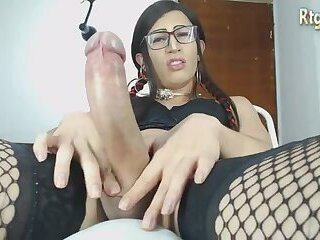 hot nerdy shemale jerking off her big dick