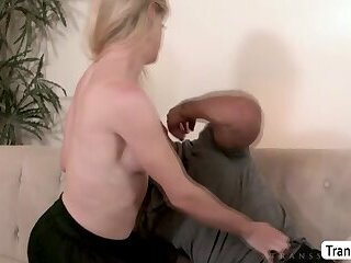 TS Nikki Vicious hot anal sex in the couch with dudes cock