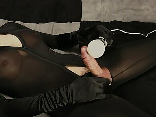 Jade rubs her big cock with a magic wand - massive cumshot