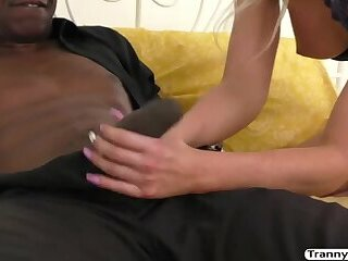 Sexy blonde Tgirl Kayleigh Coxx loves to suck and fuck black guys huge cock
