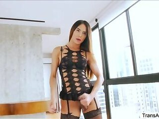 Hot Tgirl Kalliny and Tony goes anal sex and cock sucking