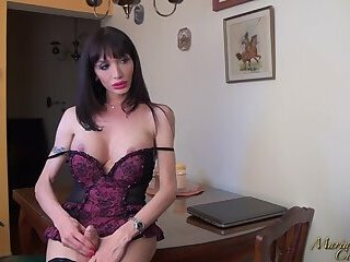 Solo gorgeous shemale with monstrous dick