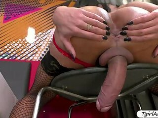 TS Izabelle masturbates and fingers her tight butthole