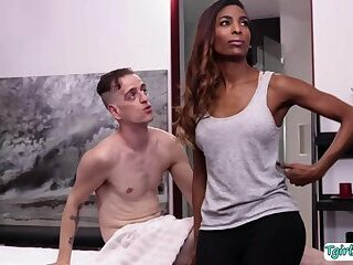 Black Masseuse Natassia Dreams gets her tight asshole banged hard