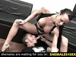 Horny guy blows a shemales huge cock