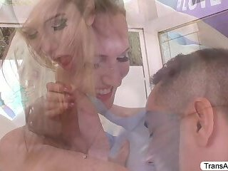 Tgirl Kayleigh gets fucked in the ass by Gabriels hard cock